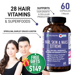 Hair Skin and Nails Extreme - 28 Natural Ingredients ☆ Max Vitamin A C E + Biotin ☆ Superfood