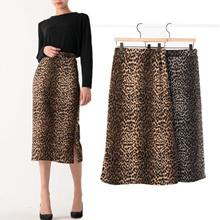 [Leopard Skirt, ck074] Big Goli Story Women s soft stretch Good banding Leopard Hopi Midi skirt Tige
