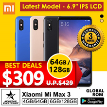 Xiaomi Mi Max 3 | With Playstore Installed | SG Seller | Export Set| Latest Model - 64GB/ 128GB
