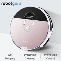 ILIFE Rose Gold Robot Vacuum Cleaner With Water Tank Mapping  Smartphone App