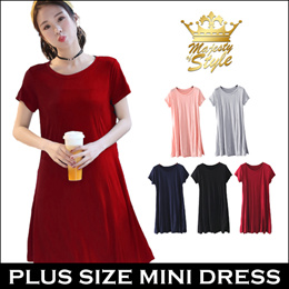 PLUS SIZE HALF SLEEVE MINI DRESS Comfortable Modal Cotton in 5 Colors. SG Delivery. Fast Shipping!