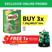 [Apply Coupon, Save More] MILO 1.5kg Buy 3 FREE MILO BACKPACK Triangular (1 JAN - 15 FEB 2018)