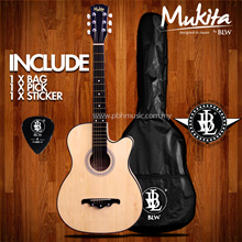 Mukita by BLW Standard Acoustic Folk Cutaway Basic Guitar Package 38 Inch for beginners with Bag