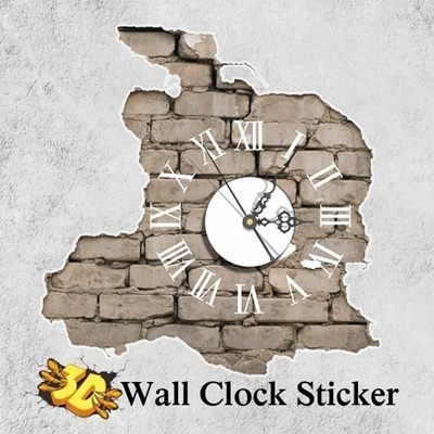qoo10 - uk pag sticker 3d wall clock decals breaking cracking wall