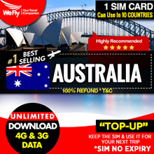 Australia Sim card ( Telstra):7 -15 days unlimited data 4G/3G