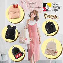 Disney Mickey Minnie Charm Ear Front Pocket Backpacks/Women/Girls Bags/Taiwan Fashion