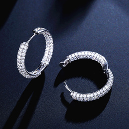 White Gold Plated Pave Austrian Crystal Hoop Earrings