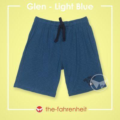 Glen Comfy Tie-Waist Shorts For ManLight Blue