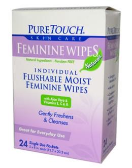 PureTouch Skin Care Feminine Wipes 24 Single Use Packets