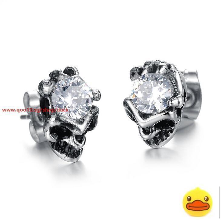 Qoo10 Fashion Jewelry Cool Men Skull Stainless Steel Trend Stud Earrings Ge2 Jewelry Access