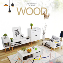 [ReadyStock] Scandinavian Wooden Off White Storage Coffee Table | TV Console | Storage Cabinet