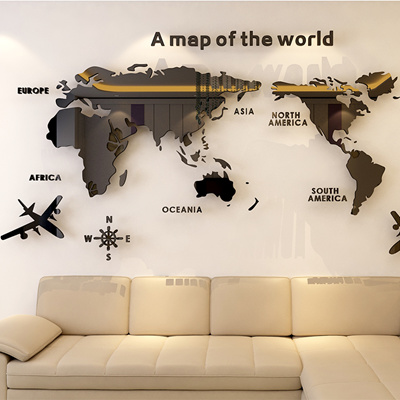 3D World Map wall sticker acrylic decoration (2 colors)