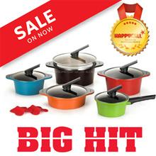 Happy call Alumite Ceramic 5 Pot set / cooking frying pan pots wok