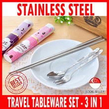 Travel Tableware Set 3in1 Stainless Steel Chopsticks Fork Spoon - Best Present and gifts for Children Christmas Birthday Corporate Church Door Gift Valentines Day