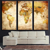 Fashion Environmental Professional Decorative Painting Canvas Triple World Map