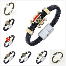 HSIC Cartoon Anime Naruto Konoha Black Butler Bracelet Conan Maganetic Button One Piece Final