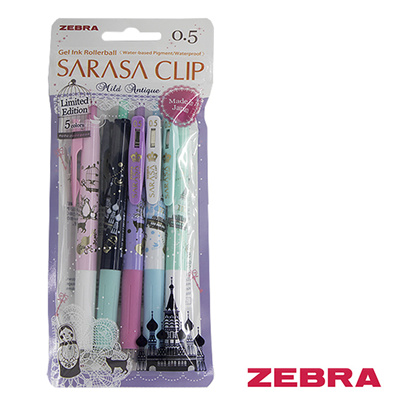 9473c484db84 ZEBRA SARASA CLIP GEL PEN 0.5MM MILD ANTIQUE LIMITED EDITION 5 COLOUR PACK