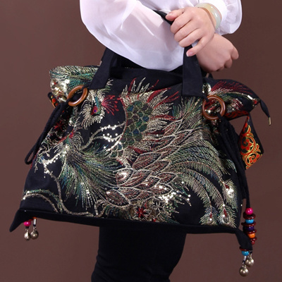 Hmong Boho Embroidered Bags Handbags Retro Chinese Ethnic Embroidery  Phoenix Canvas Bag e93bce88f8748
