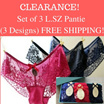 CLEARANCE SALE : Set of 3 L. SZ Panties - 3 DESIGNS- FREE SHIPPING