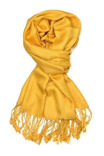 9ce84c8cc48f7 Achillea Large Soft Silky Pashmina Shawl Wrap Scarf in Solid Colors (Gold)