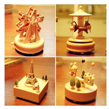 Music box carousel childrens fine wood mens and womens birthday creative Valentines Day gift