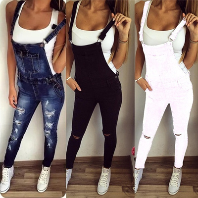 fa088f2eb88 Womens Fashion Denim Washed Jumpsuits Long Pants Rompers Sexy Skinny Ripped  Jeans Hole Slim Overall(