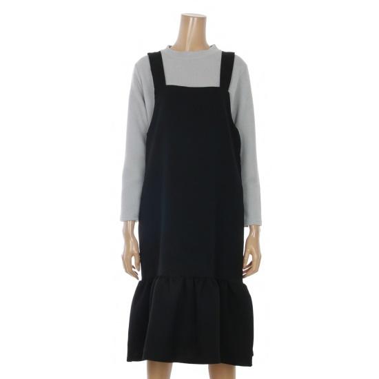 チンウォンイエンシの裾フレアスルリブリスベーシックワンピースENOW71207Z 面ワンピース/ 韓国ファッション
