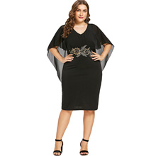 Plus Size Embroidery Capelet Dress for Women