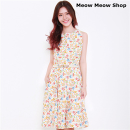 Meow Meow Shop★ PRINTED COTTON DRESSES #91A-27 SIZE AVAILABLE S-XXL