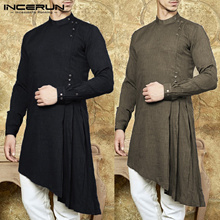 outlet Men Shirt Indian Kurta Suit Solid Color Long Sleeve Cotton Casual Tops Men Islamic Muslim Ara