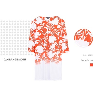 DRESS L/S COVINGTON_ORANGE MOTIF