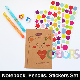 Notebook with sticker set l Mini stacking pencil l Goodie Bag l Gift l Birthday