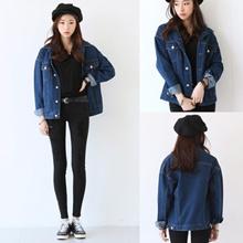 [READY STOCK] 2XL Plus Size Denim Long Sleeve Women Jacket