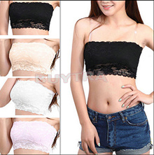 Soft Women Stretch Strapless Boob Tube Top Bandeau Sexy Bra Lace
