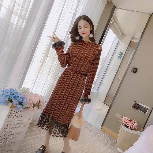 冬の豪華な長袖のゴールドのベルベットのステッチレースのドレス女性のウエストのロングスカートは薄かった/韓国ファッション/ワンピース/花柄ワンピース/Vネックワンピース