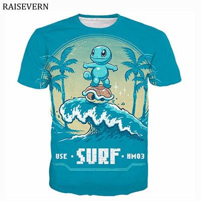 ff8807b18a discount RAISEVERN Cute Squirtle Pokemon T Shirt Men Women 3D Print Fashion  Hip Hop Tops Tees