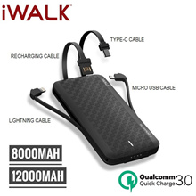 iWalk Scorpion Ultra thin 8000 / 12000mAh Portable QC 3.0 Power Bank Built in Cables / Wireless