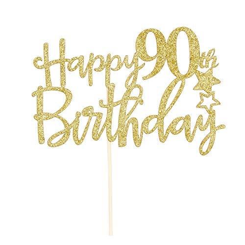Enjoyable Qoo10 Maicaiffe Gold Giltter Happy 90Th Birthday Cake Topper Personalised Birthday Cards Veneteletsinfo