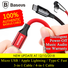 JD]Baseus Cable★100% Authentic★Micro USB Apple Lightning Type-C Fast Charging Cables 4-in-1 Cable