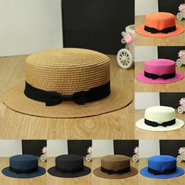 2015 New Fashion Bow Women Hat Lady Fedora Top Hat Trilby Bowknot Straw  Panama Beach Sun 372668b5ac43