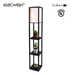 ELECWISH Shelf Floor Lamp with Linen Shade, UL Listed, Wooden Frame, 63 Inch Height, Switch on/off,