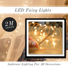★$2.90 with FREE DELIVERY★ LED CHRISTMAS Fairy Lights -  2M 20 Led Copper Wire Battery Operated