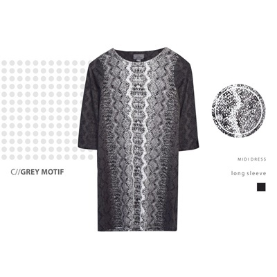 DRESS L/S COVINGTON_GREY MOTIF