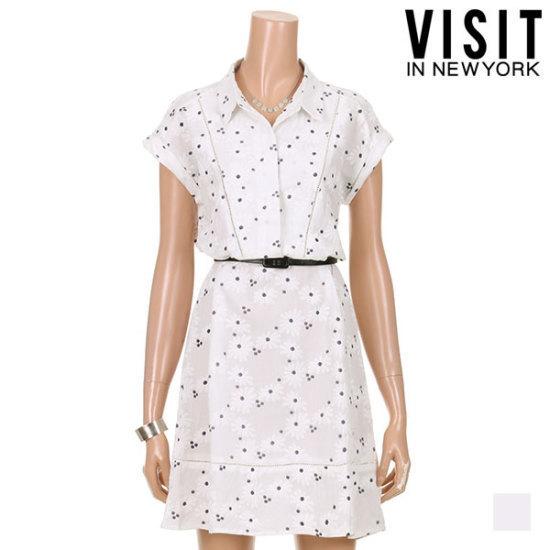 ・ビジット・インニューヨークフローラルエンボ半袖ワンピースVTGOP27 面ワンピース/ 韓国ファッション