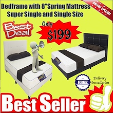 * BEST DEAL * Bedframe with 8 inches  Spring MattressSuper Single and Single Size