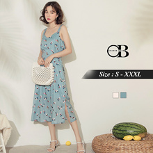 OB DESIGN ★ OBDESIGN ★ ORANGEBEAR ★ STRAP BOW TIE FLORAL MAXI DRESS ★ 2 COLORS ★ S-XXXL SIZE ★ PLUS