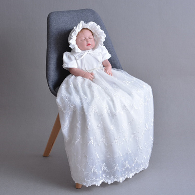 caca27cf7c47c Newbron Baby Girls Christening Gowns Baptism Long Trailing Lace Dress  Princess Birthday Party Wear i