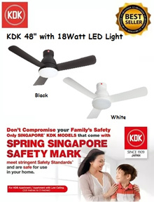 KDK DC Motor Ceiling Fan with 18Watt LED LIGHT U48FP *LOCAL WARRANTY* FREE BASIC INSTALLATION