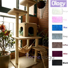 Pet Station! Cat Scratching Tree with Hammock Kitten House 1.5 Meter Tower Kitty Condo