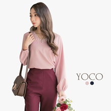 YOCO - Pearl Embellished V-neck Blouse-172647-Winter